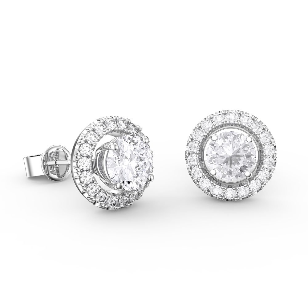 9de901401 Fusion 1.2ct Diamond 18ct White Gold Stud Earrings Halo Jacket Set. Tap to  expand