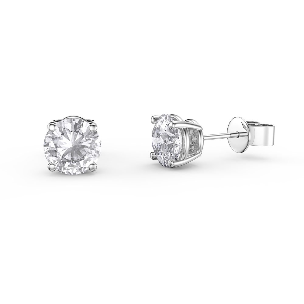 Charmisma 1ct White Sapphire 18ct White Gold Stud Earrings