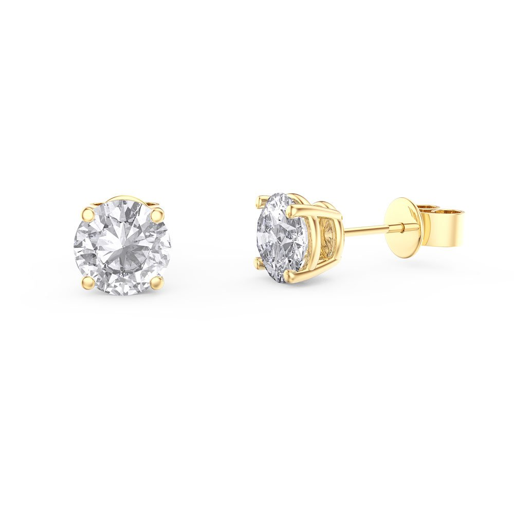 Charmisma 1ct White Sapphire 18ct Gold Vermeil Stud Earrings