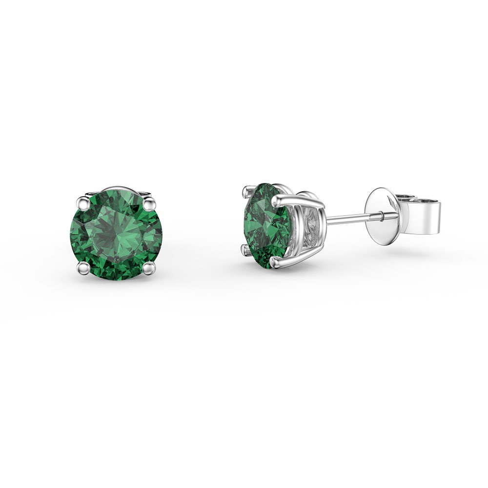 Charmisma 1ct Emerald 9ct White Gold Stud Earrings