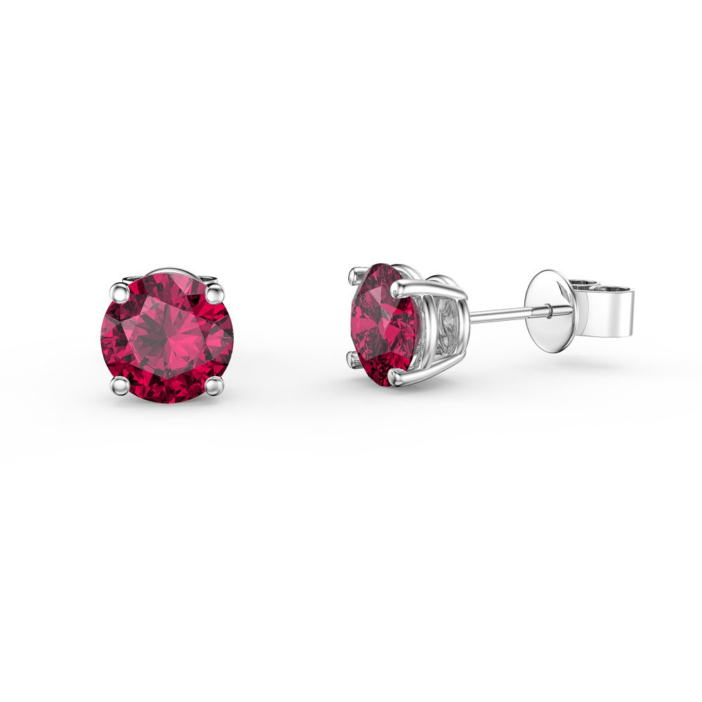 Charmisma 1ct Ruby Platinum Plated Silver Stud Earrings