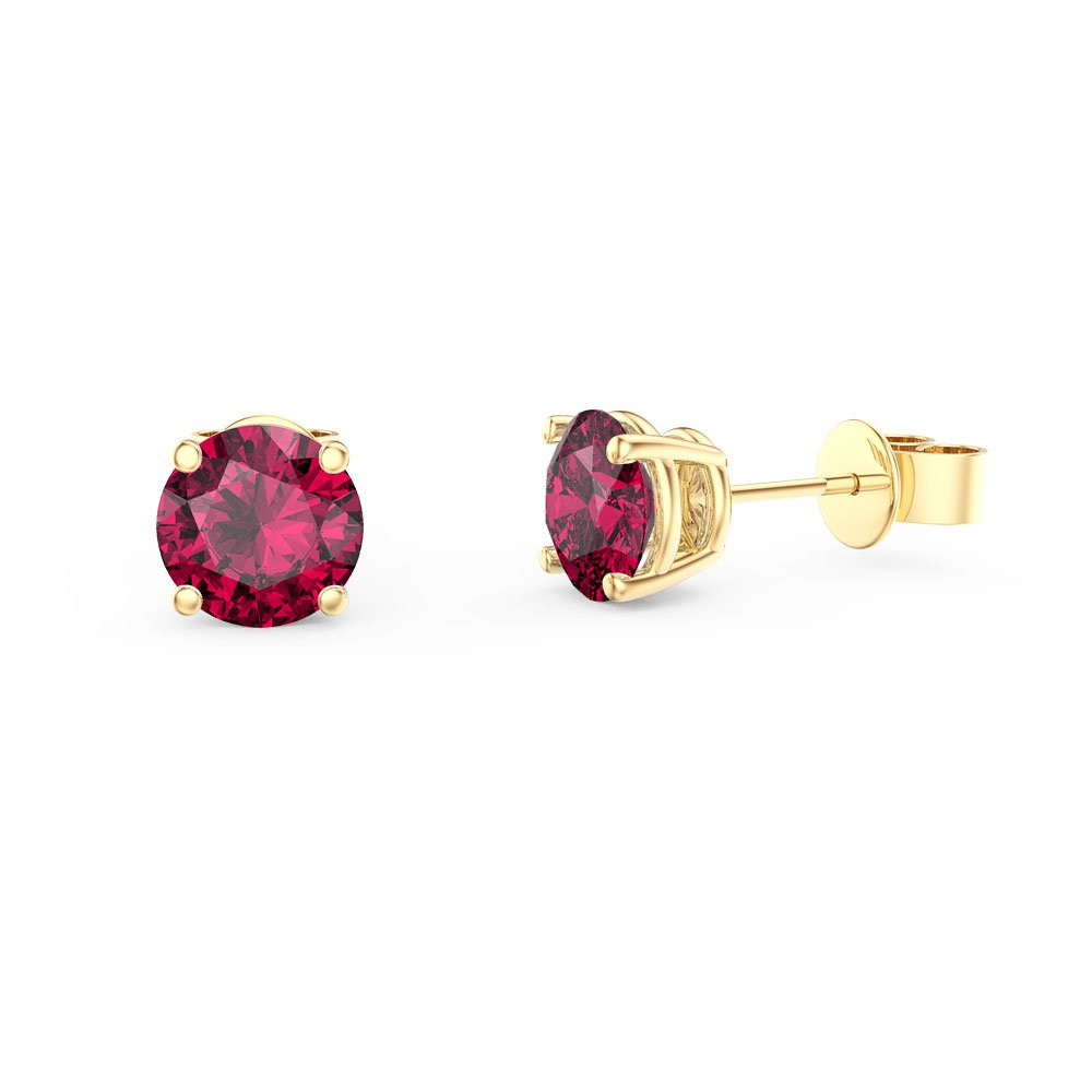Charmisma 1ct Ruby 18ct Yellow Gold Vermeil Stud Earrings