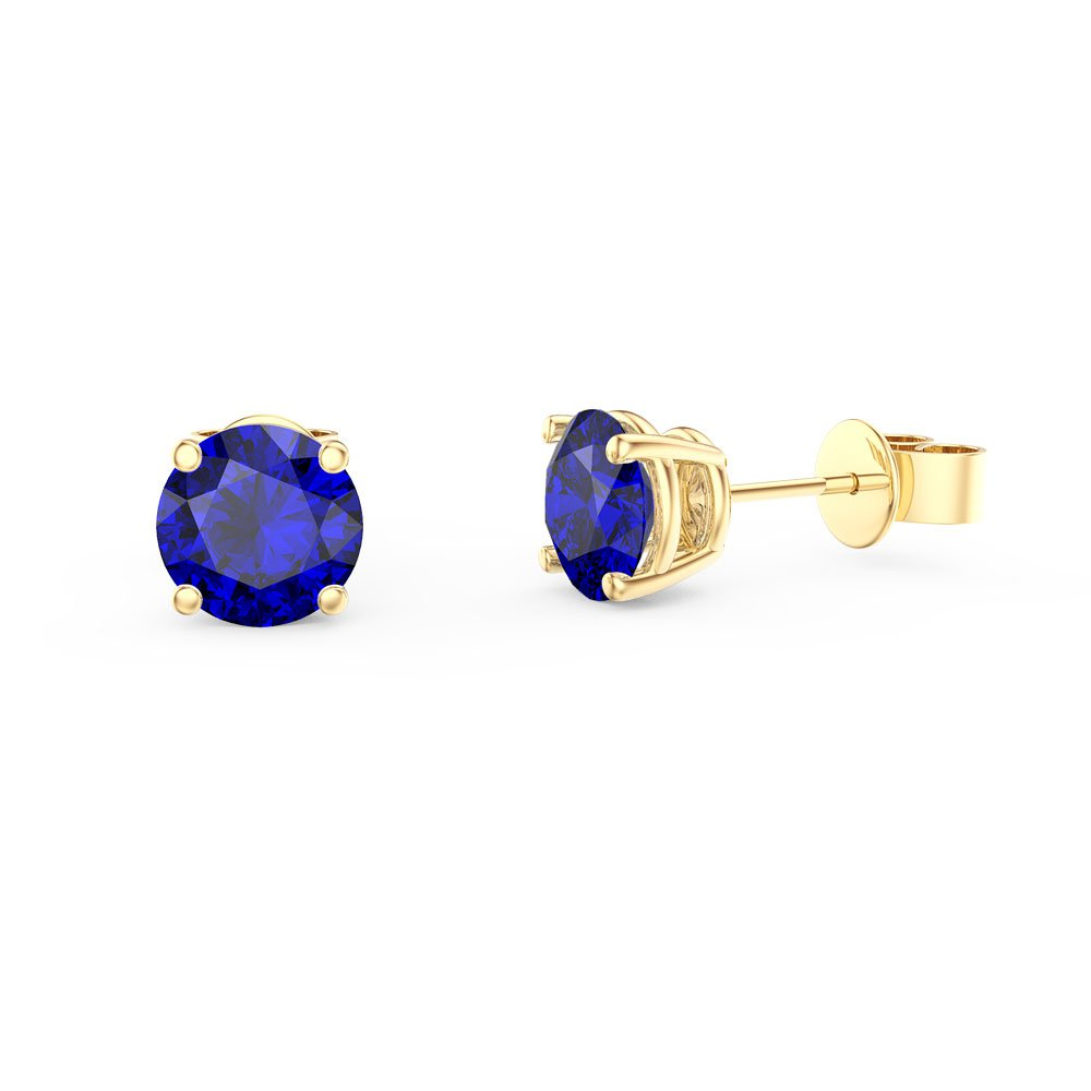 Charmisma 1ct Sapphire 18ct Yellow Gold Vermeil Stud Earrings