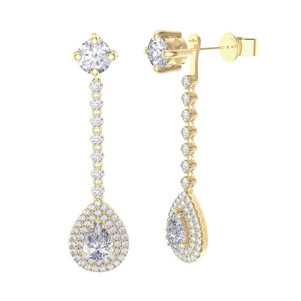 drop diamond earrings articulated of stud pair double image a