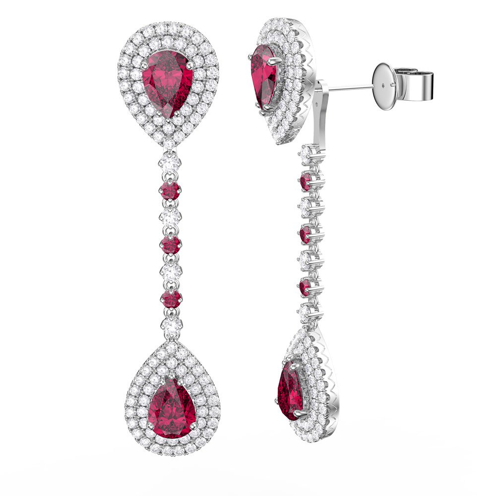 0e6a0fbf249a Fusion Ruby Pear Halo 18ct White Gold Halo Stud Drop Earrings Set. Tap to  expand