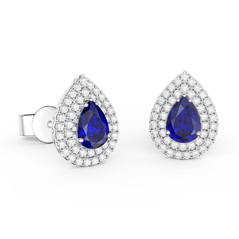 7b29f8774e8ba Fusion Sapphire and Diamond Pear Halo 18ct White Gold Stud Earrings