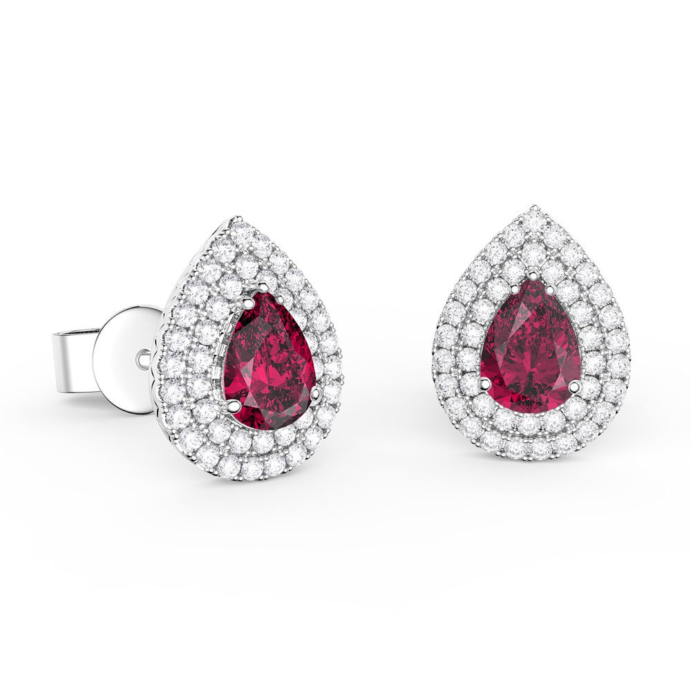641e99726497 Fusion Ruby and Diamond Pear Halo 18ct White Gold Stud Earrings. Tap to  expand