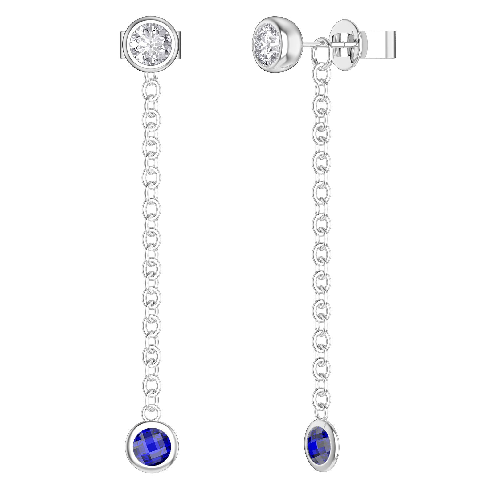 By the Yard Blue Sapphire Platinum plated Silver Stud and Drop Earrings Set