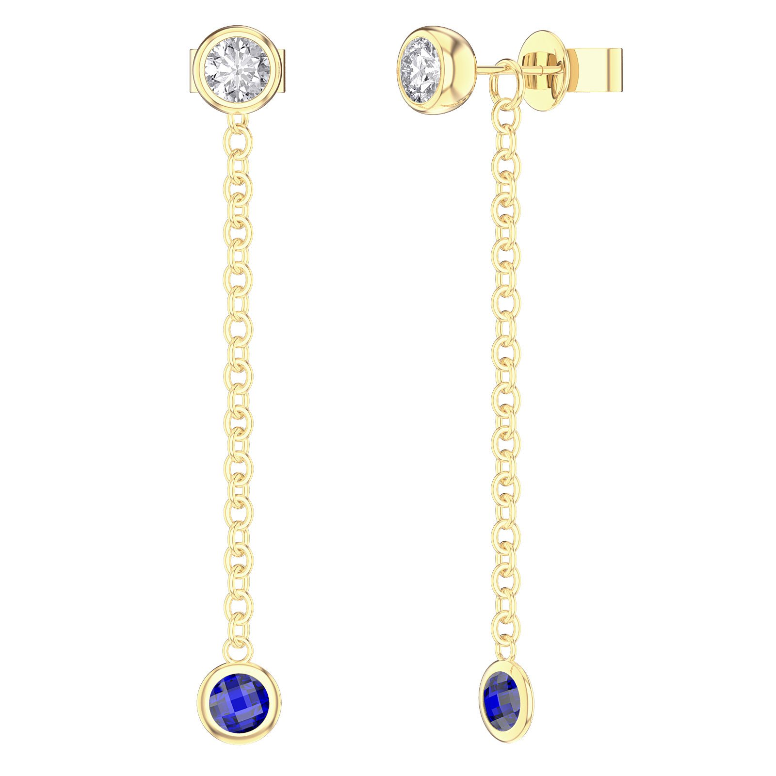 By the Yard Blue Sapphire 18ct Gold Vermeil Stud and Drop Earrings Set