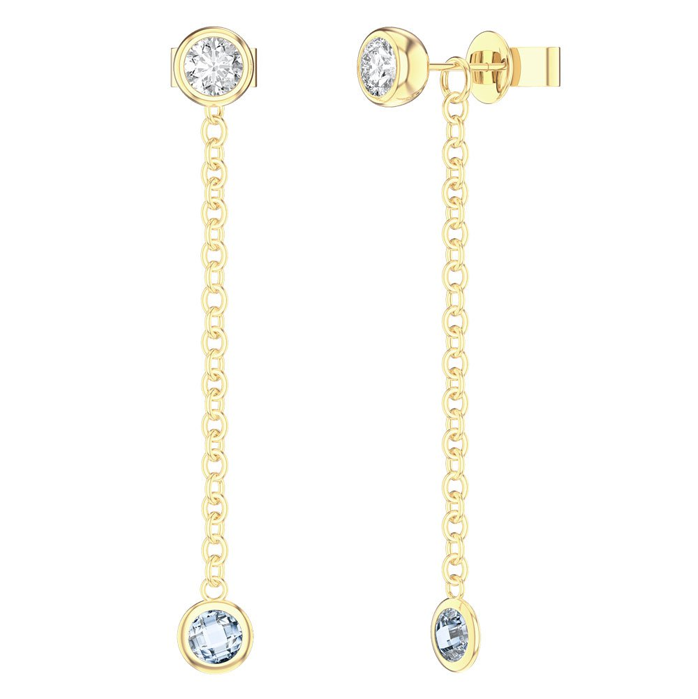 By the Yard Aquamarine 18ct Gold Vermeil Stud and Drop Earrings Set