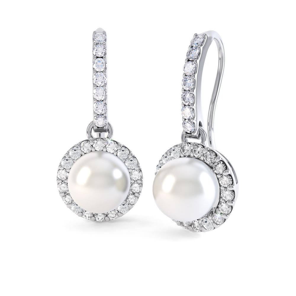 Venus Akoya Pearl and Diamond 18ct White Gold Halo Pave Drop Earrings