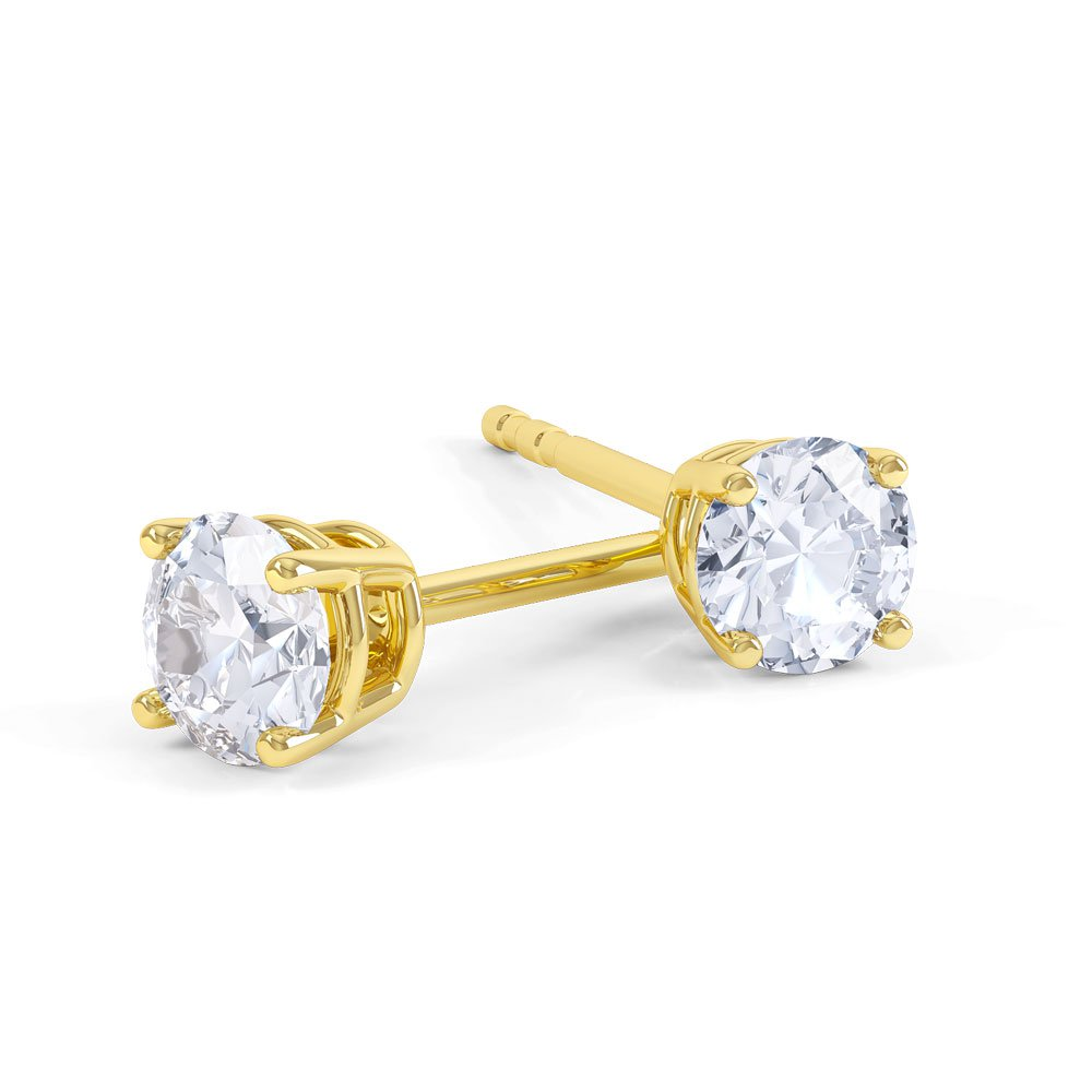 Charmisma 2ct White Sapphire 9ct Yellow Gold Stud Earrings