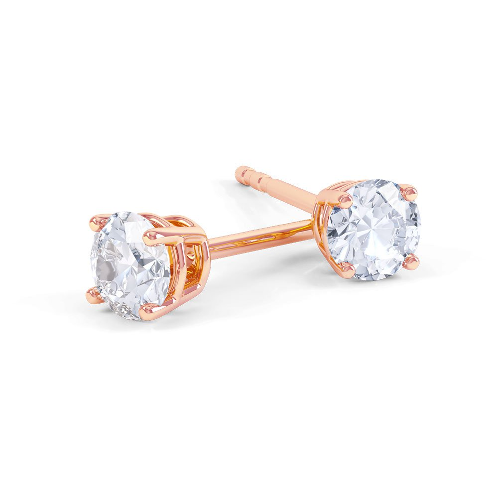 024991600 Charmisma 2ct White Sapphire 18ct Rose Gold Stud Earrings:Jian ...