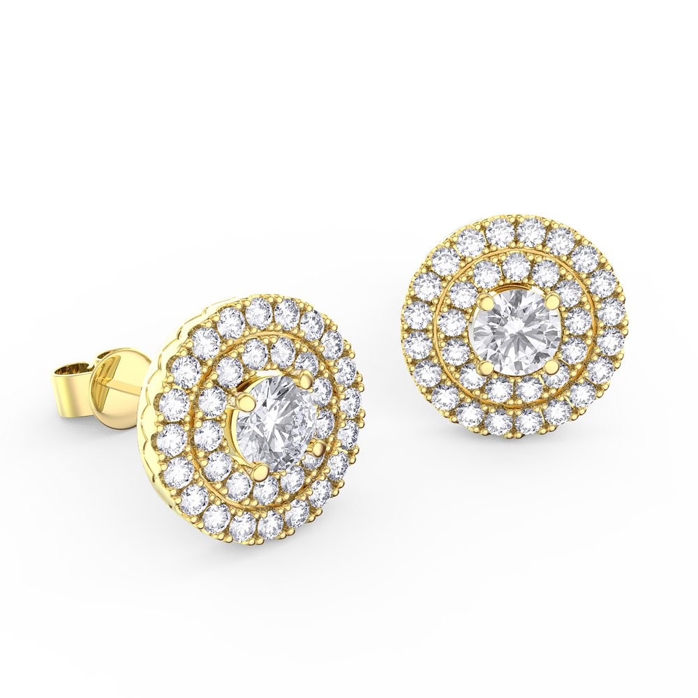Fusion Diamond Halo 18ct Yellow Gold Stud Earrings Jian London