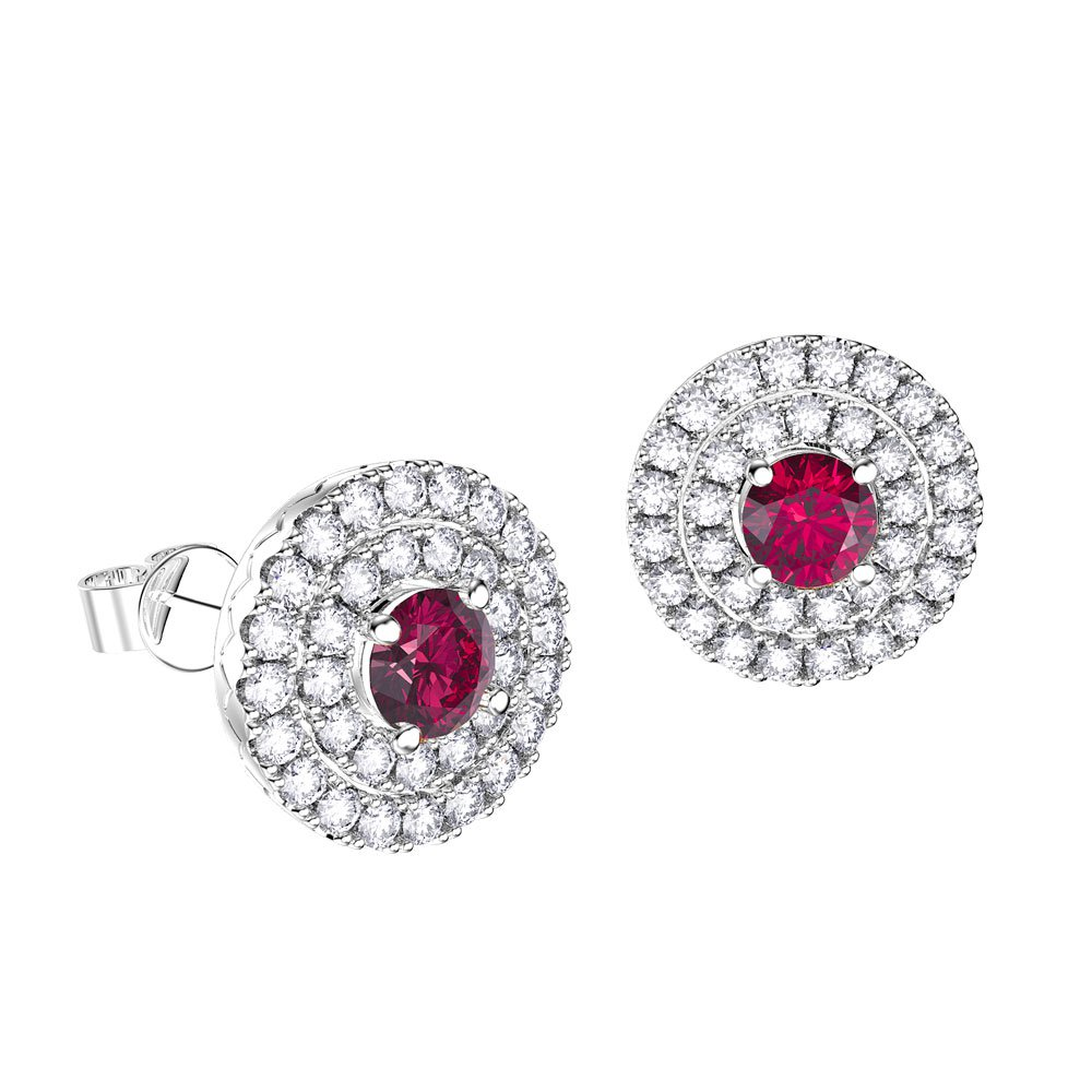 ee834fe5fd54 Fusion Ruby Halo 18ct White Gold Stud Earrings Jian London 18ct Gold ...