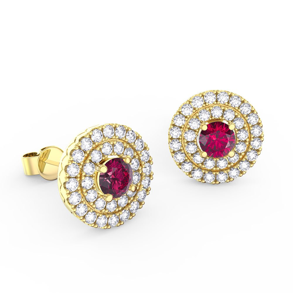 6ca40a90acab Fusion Ruby Halo 18ct Gold Vermeil Stud Earrings Jian London Silver ...