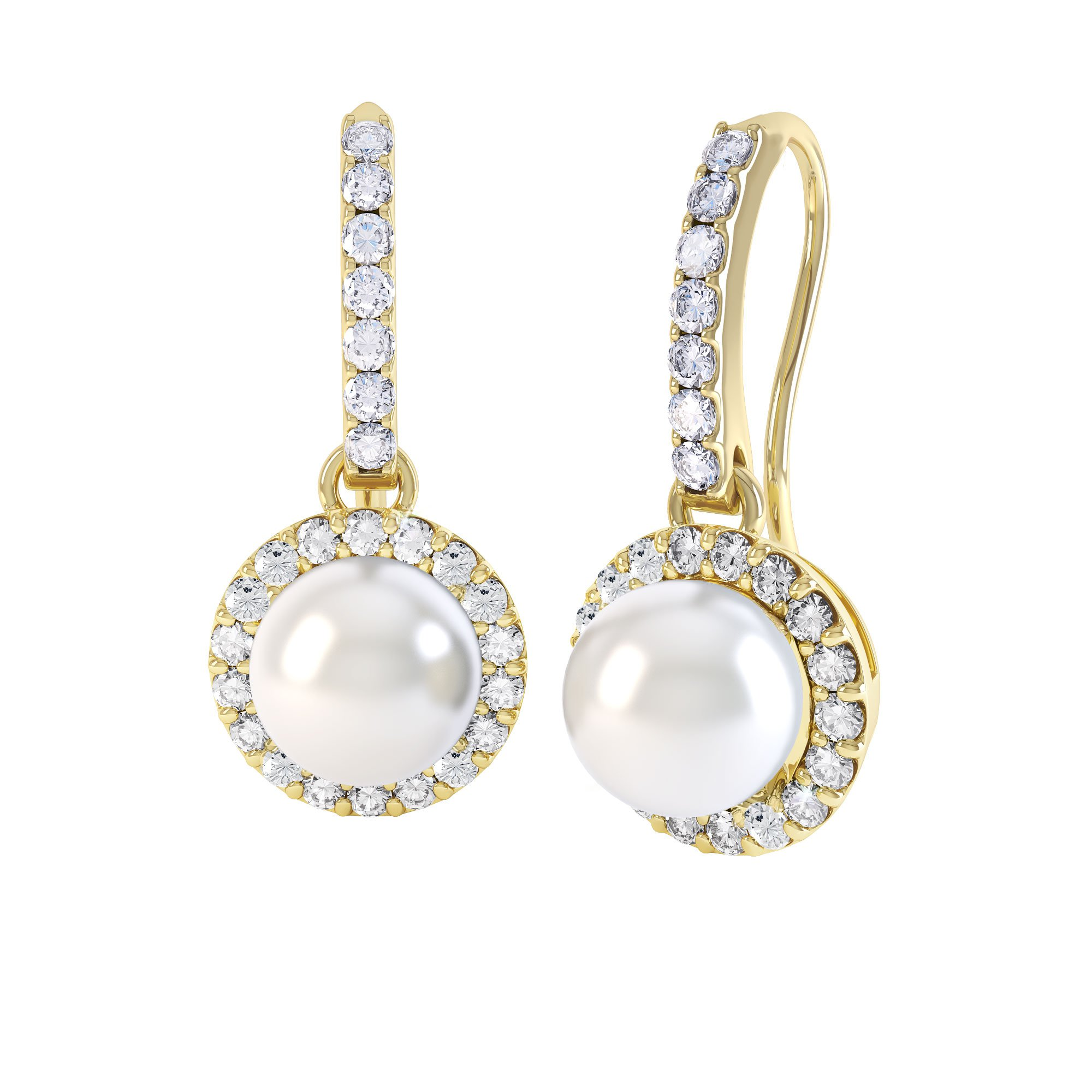 Venus Pearl Halo 18ct Yellow Gold Pave Drop Earrings