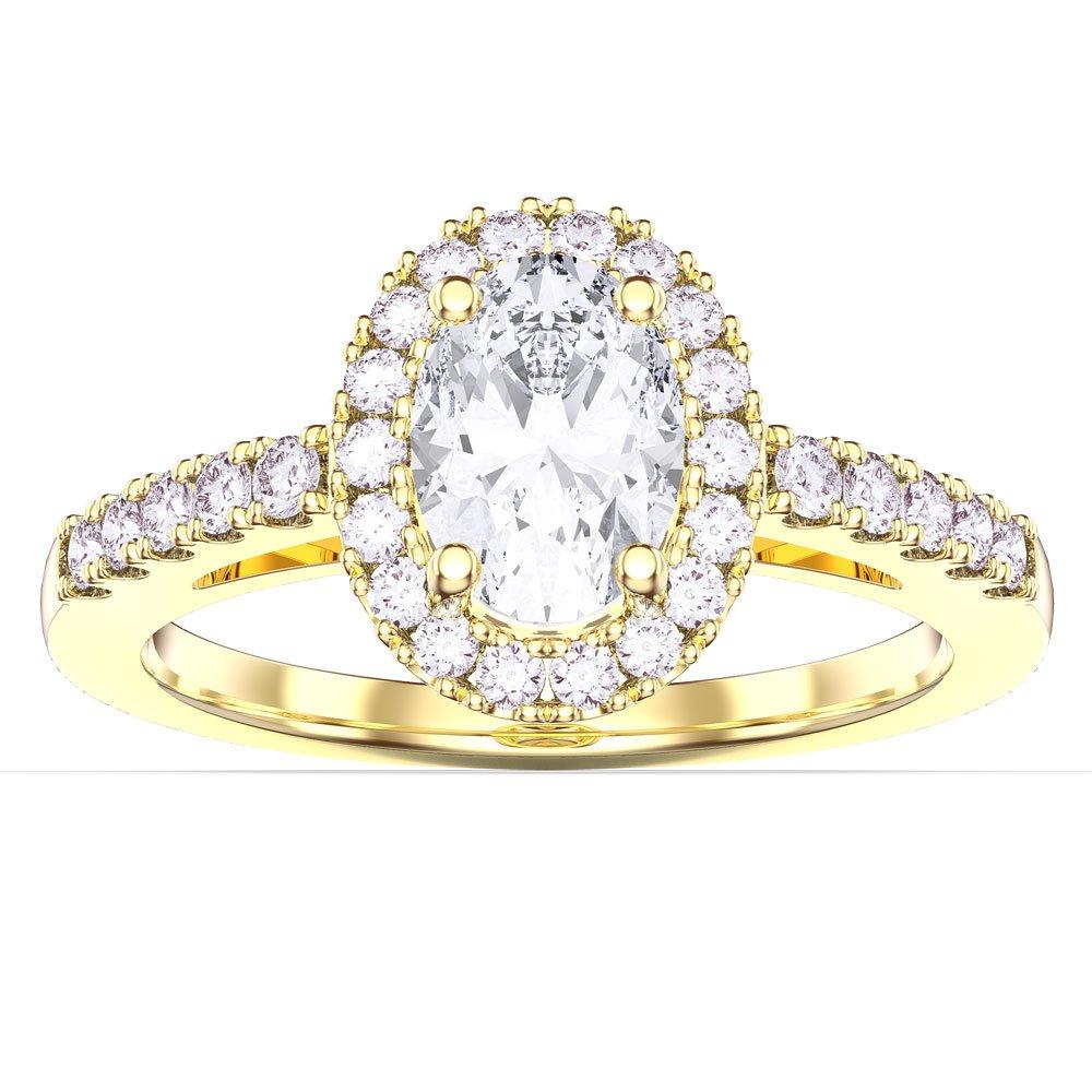 Eternity Diamond Oval Halo 18ct Yellow Gold Engagement