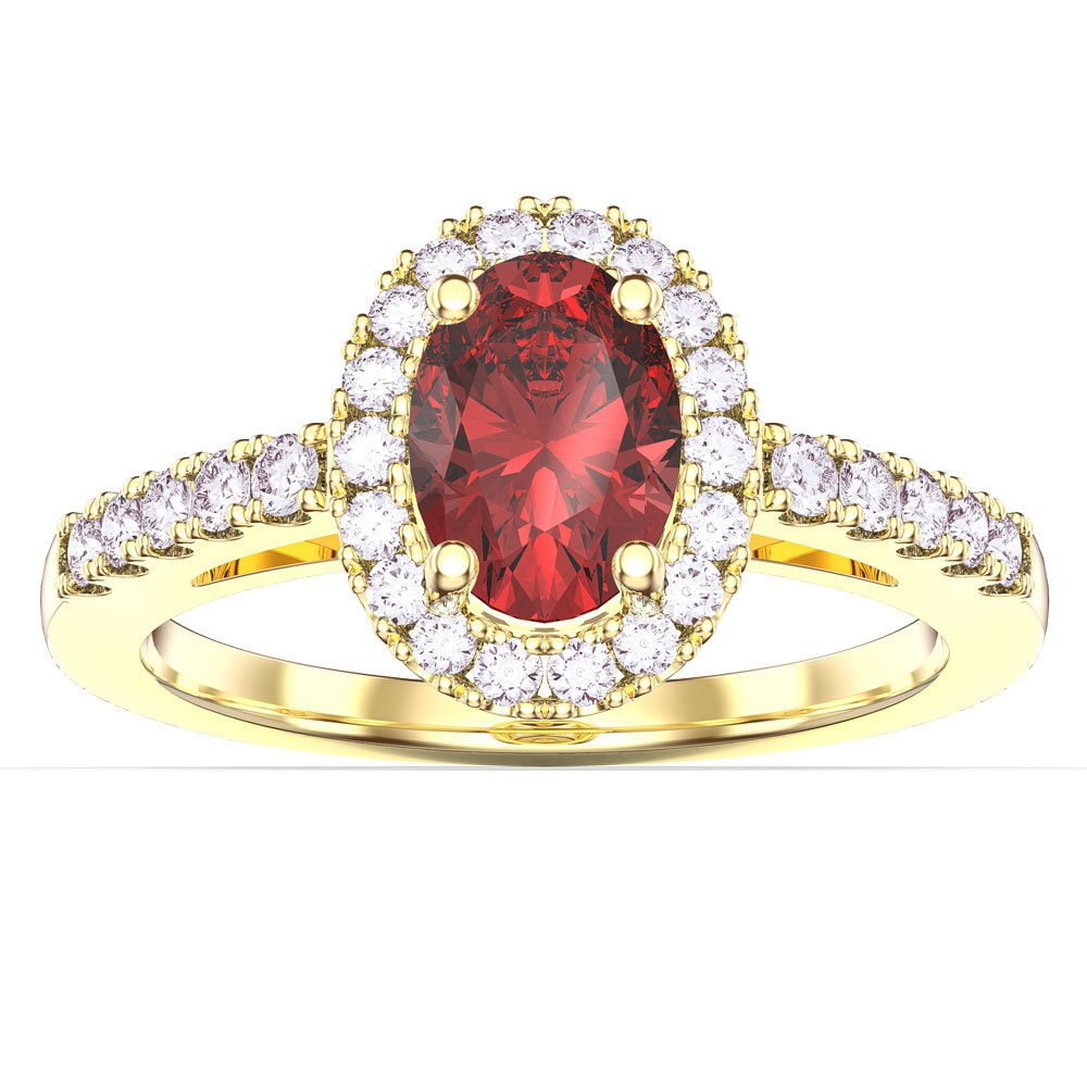 Eternity Ruby And Diamond Oval Halo 18ct Yellow Gold