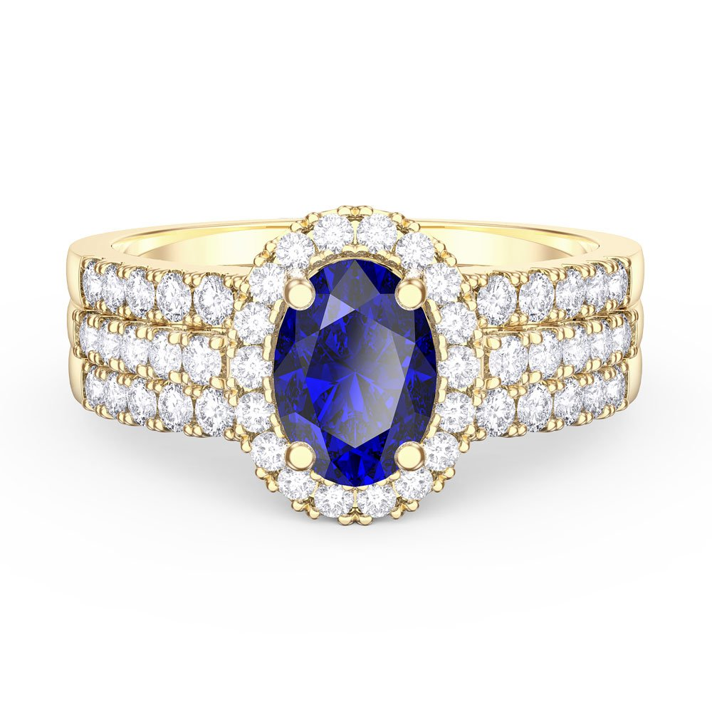 Eternity Sapphire Oval Halo 18ct Yellow Gold Engagement ...