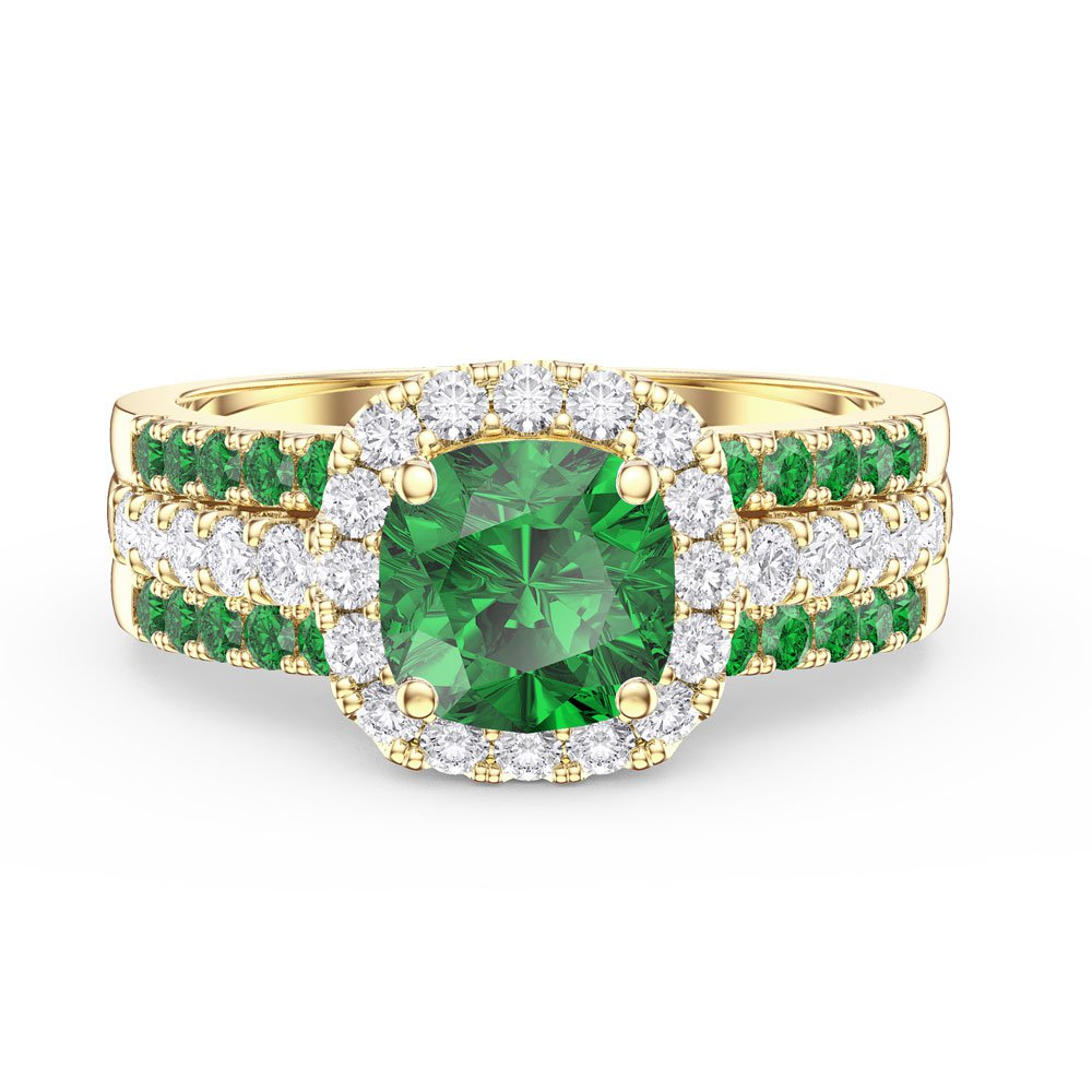Princess Emerald and Diamond Silver Promise Ring Set (2E CUSHION CUT YELLOW GOLD)