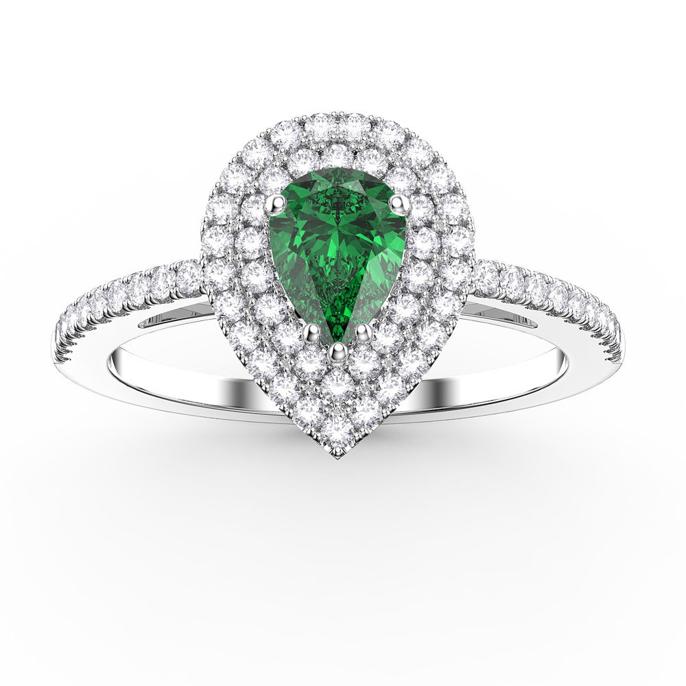 6116d22915f43 Fusion Emerald Pear and Diamond Halo 18ct White Gold Engagement Ring. Tap  to expand