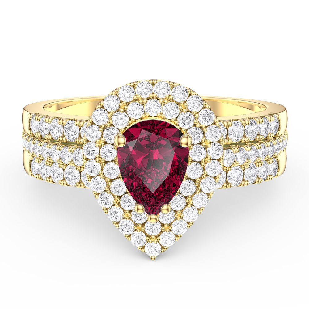 487dda963ffd Fusion Ruby Pear Halo White Sapphire Eternity 18ct Gold Vermeil Promise  Ring Set. Tap to expand