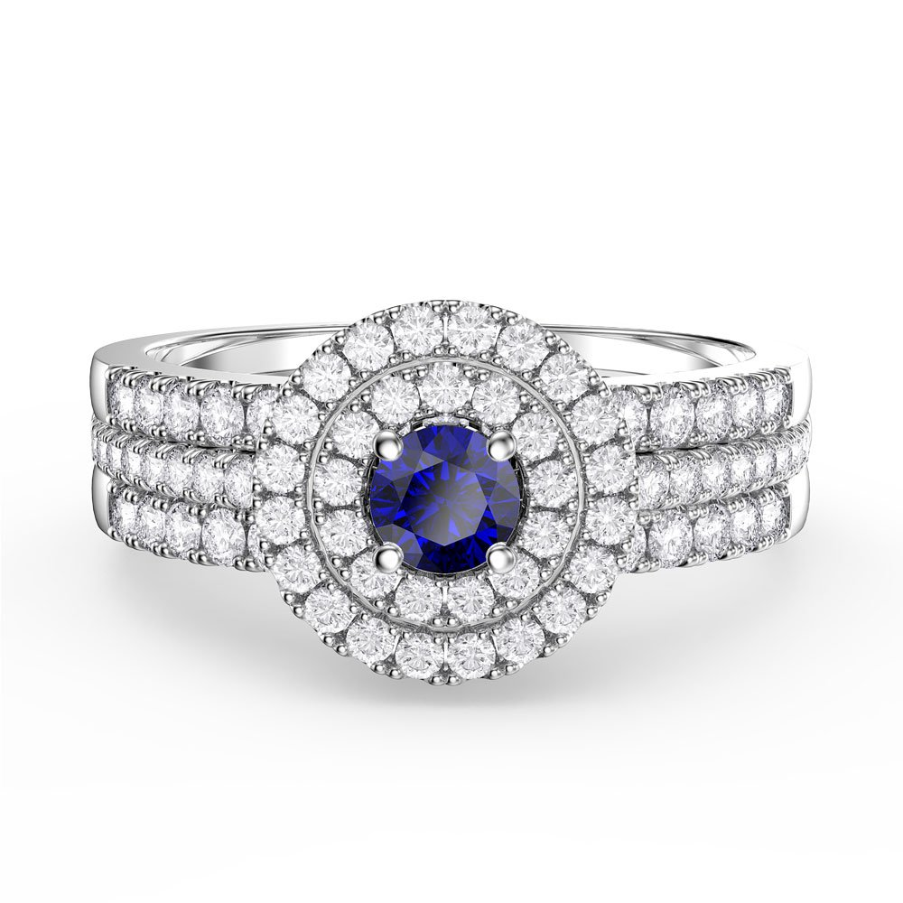 Fusion Sapphire and Diamond Halo Silver Promise Ring Set (2D WHITE GOLD)