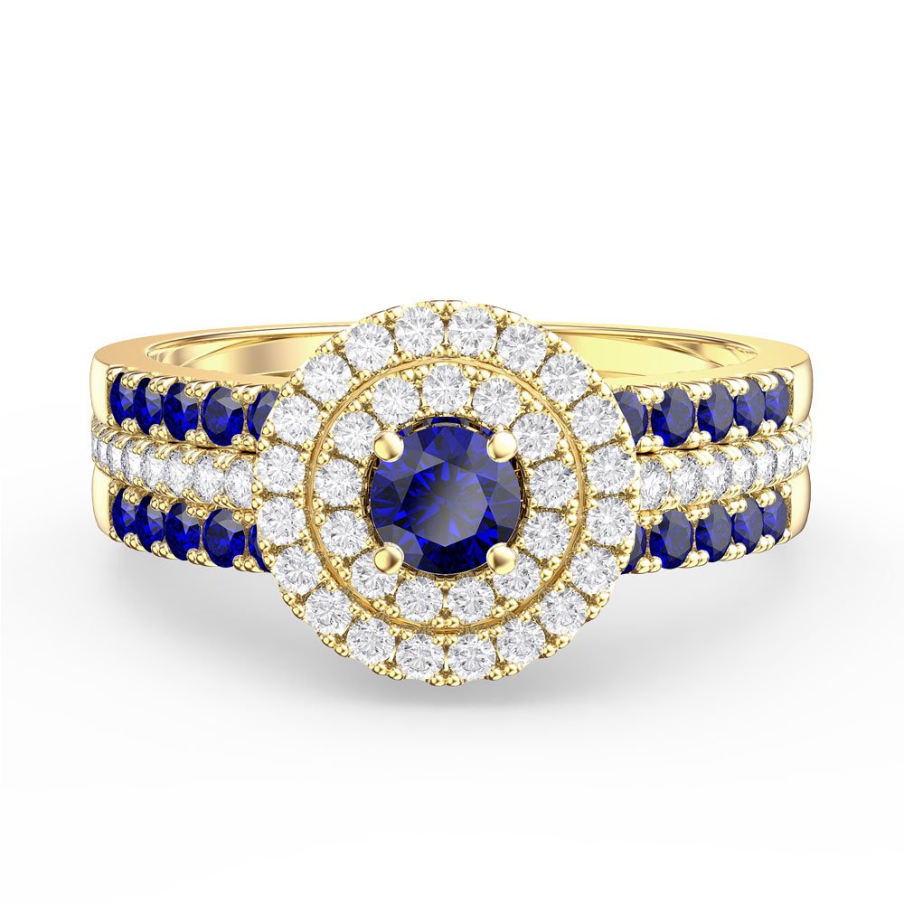 Fusion Sapphire and Diamond Halo Silver Promise Ring Set (2S YELLOW GOLD)