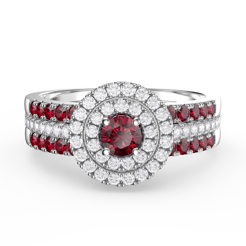 Fusion Ruby and Diamond Halo Silver Promise Ring Set (2R WHITE GOLD)