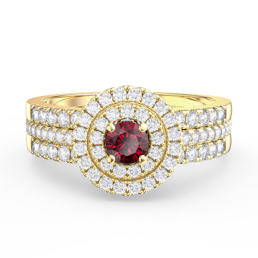 Fusion Ruby and Diamond Halo Silver Promise Ring Set (2D YELLOW GOLD)
