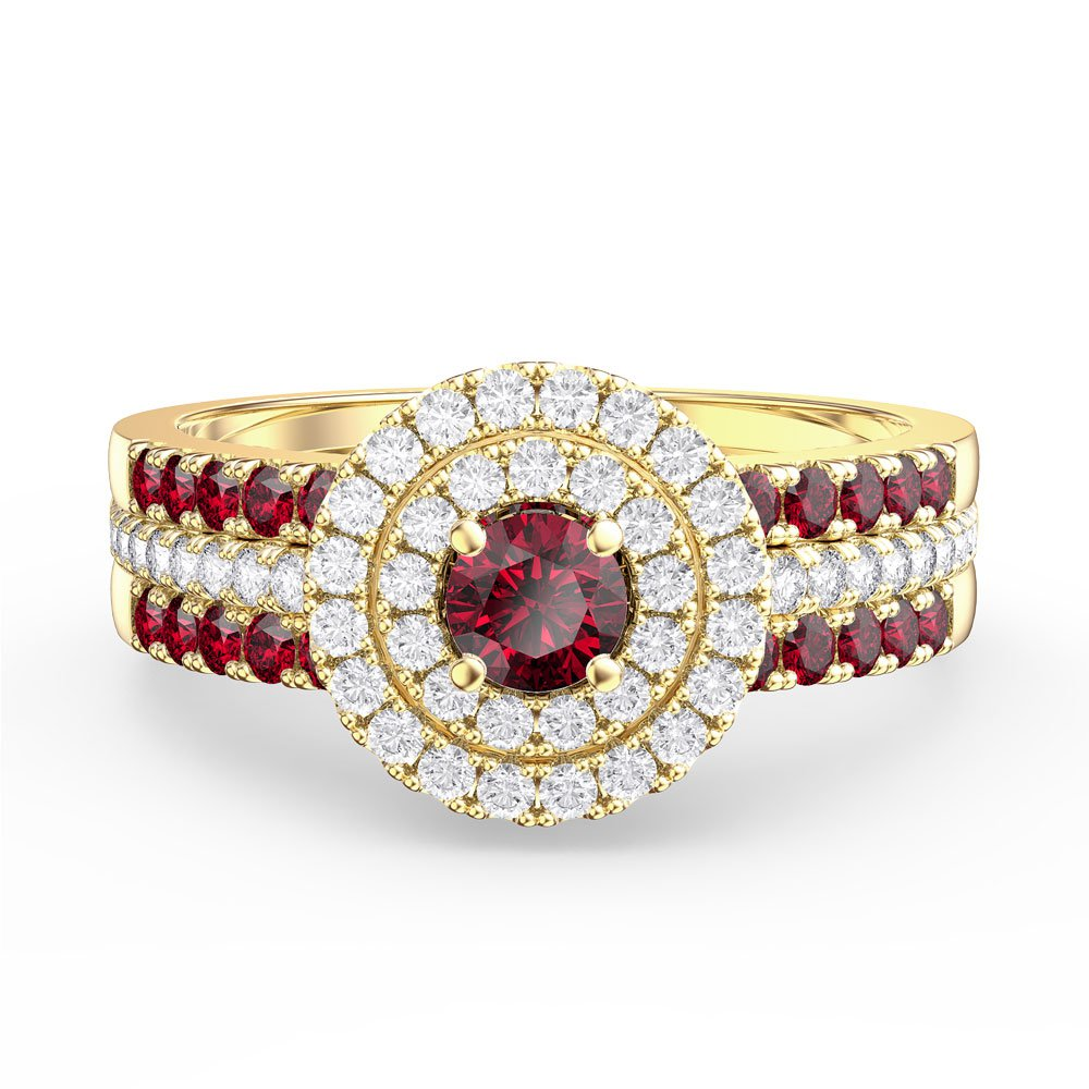 688bc57d1c8d Fusion Ruby Halo 18ct Gold Vermeil Ruby Eternity Promise Ring Set. Tap to  expand