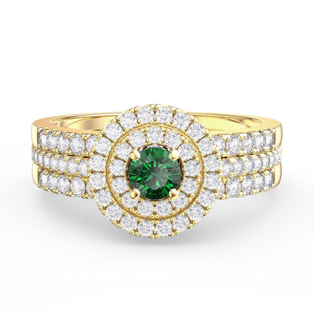 Fusion Emerald and Diamond Halo Silver Promise Ring Set (2D YELLOW GOLD)