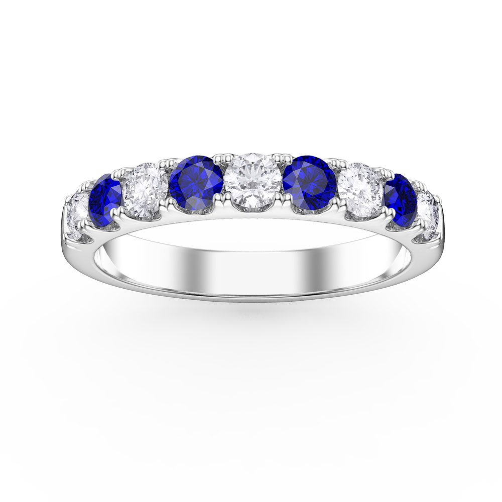 Promise Blue and White Sapphire Platinum plated Silver Half Eternity 3mm Ring Band