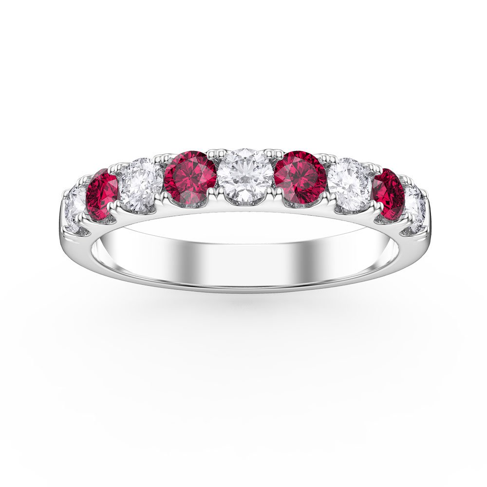 Promise Ruby and White Sapphire Platinum plated Silver Half Eternity Ring 3mm BAND