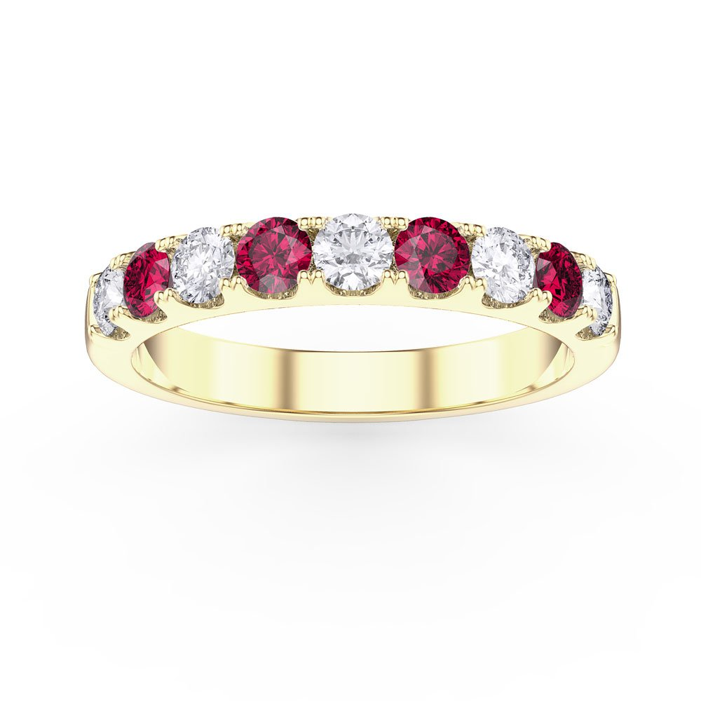 bc64d1a5e6e4 Promise Ruby 18ct Gold Vermeil Half Eternity Ring 3mm Band. Tap to expand