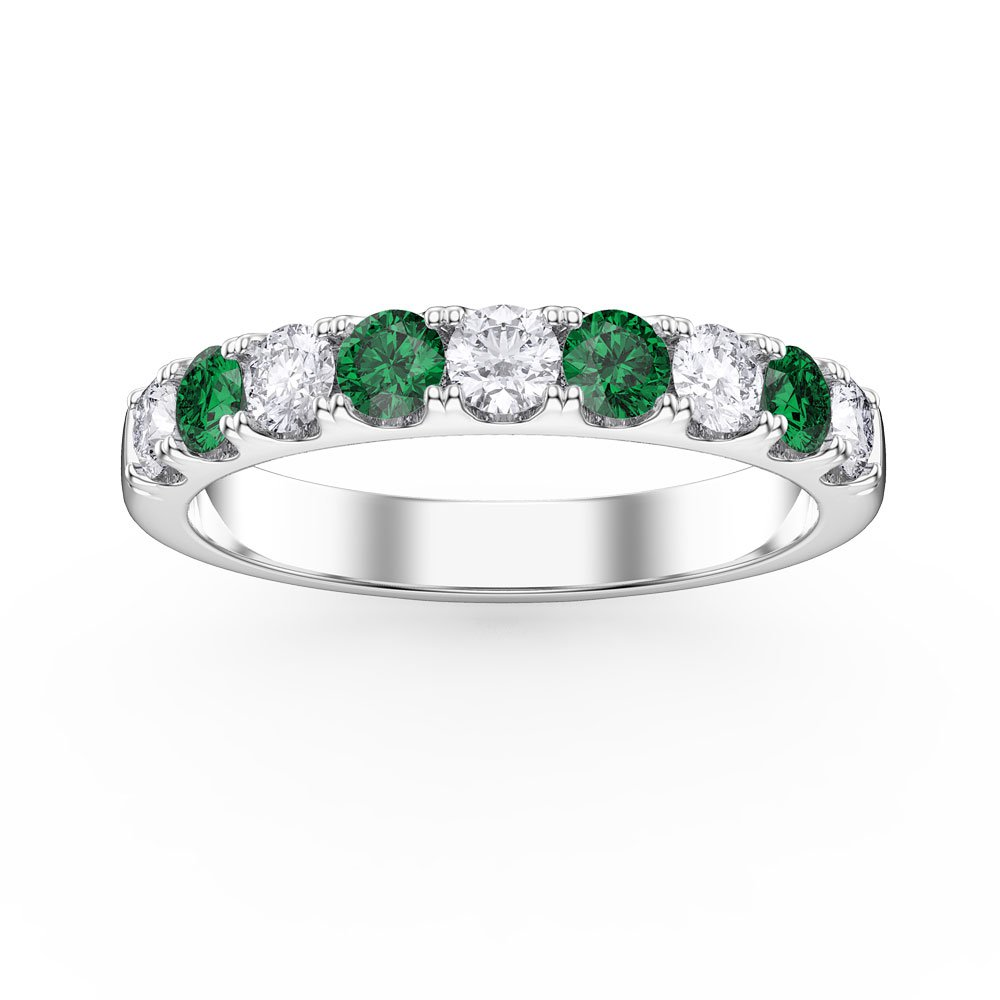 Promise Emerald and Diamond Platinum Half Eternity 3mm Ring Band