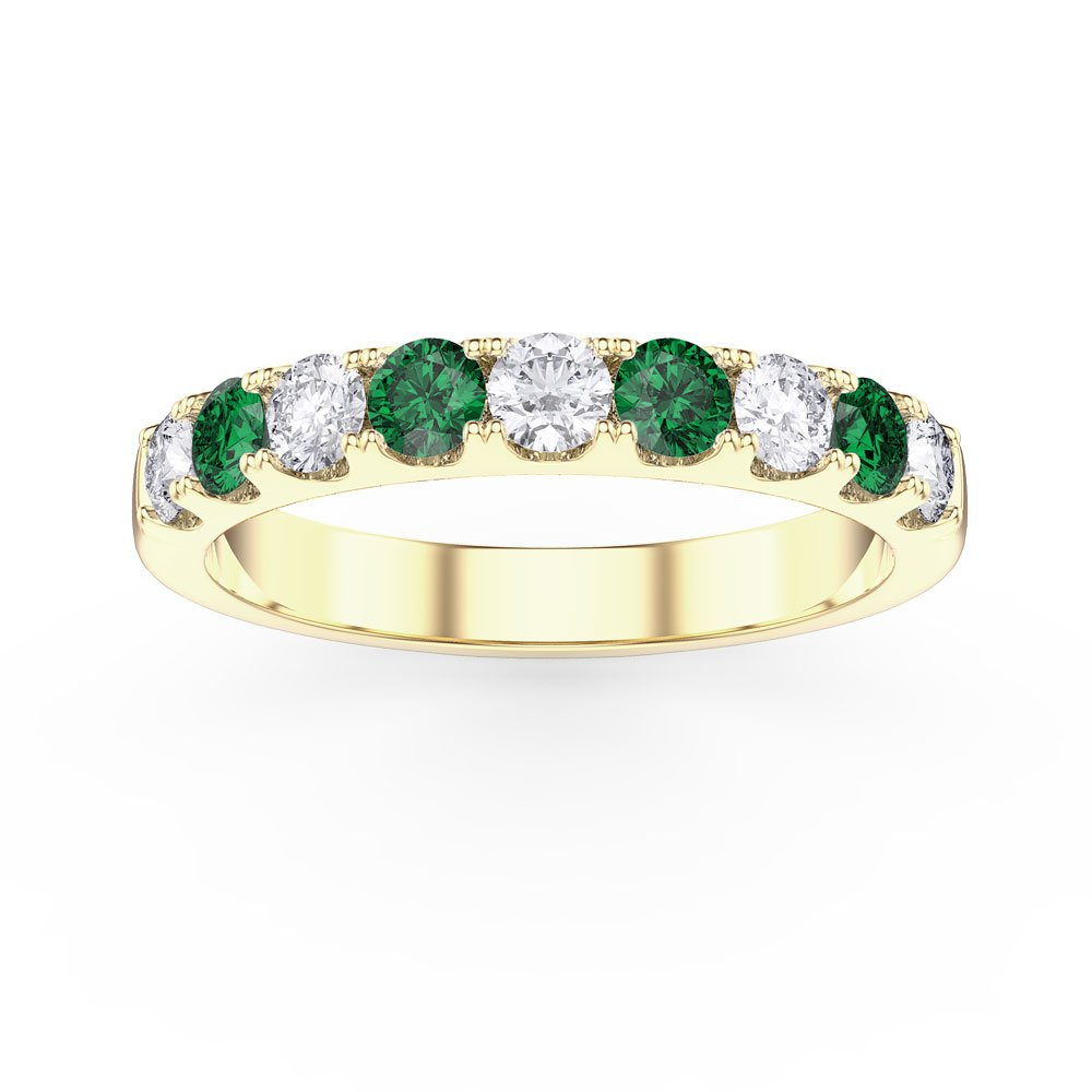 Promise Emerald and White Sapphire 18ct Yellow Gold Vermeil Half Eternity 3mm Ring Band