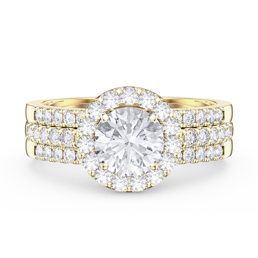 Eternity White Sapphire Halo Silver Promise Ring Set (ROUND 2D YELLOW GOLD)