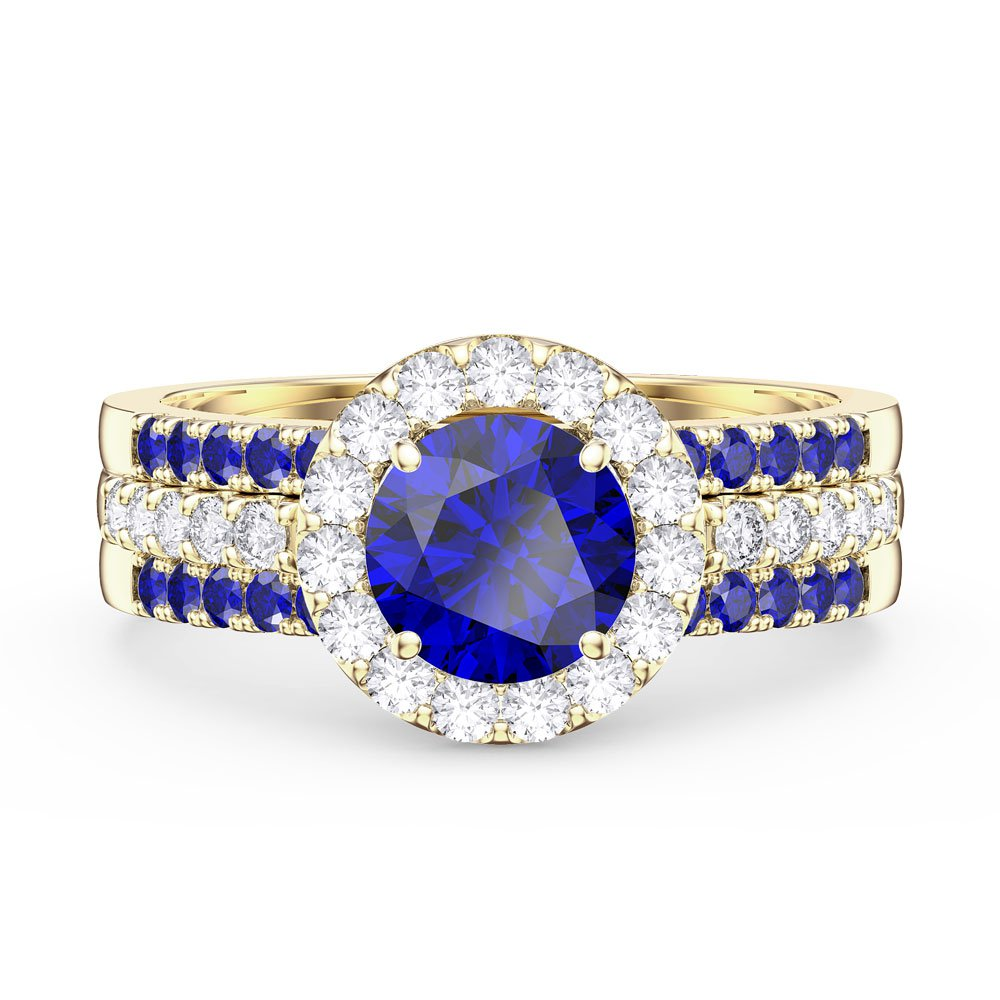 Eternity Sapphire Halo Silver Promise Ring Set (ROUND 2S YELLOW GOLD)
