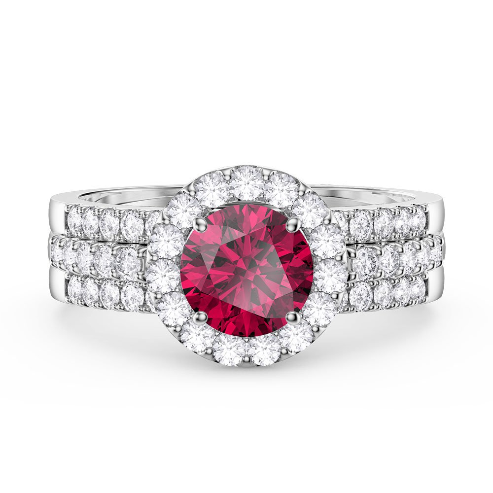 c6debe13b36a Eternity Ruby Halo Half Eternity Platinum plated Silver Promise Ring ...