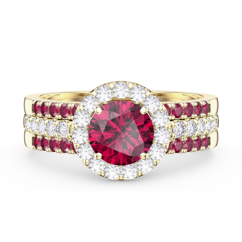 Eternity Ruby and White Sapphire Halo Silver Promise Ring Set (ROUND 2R YELLOW GOLD)