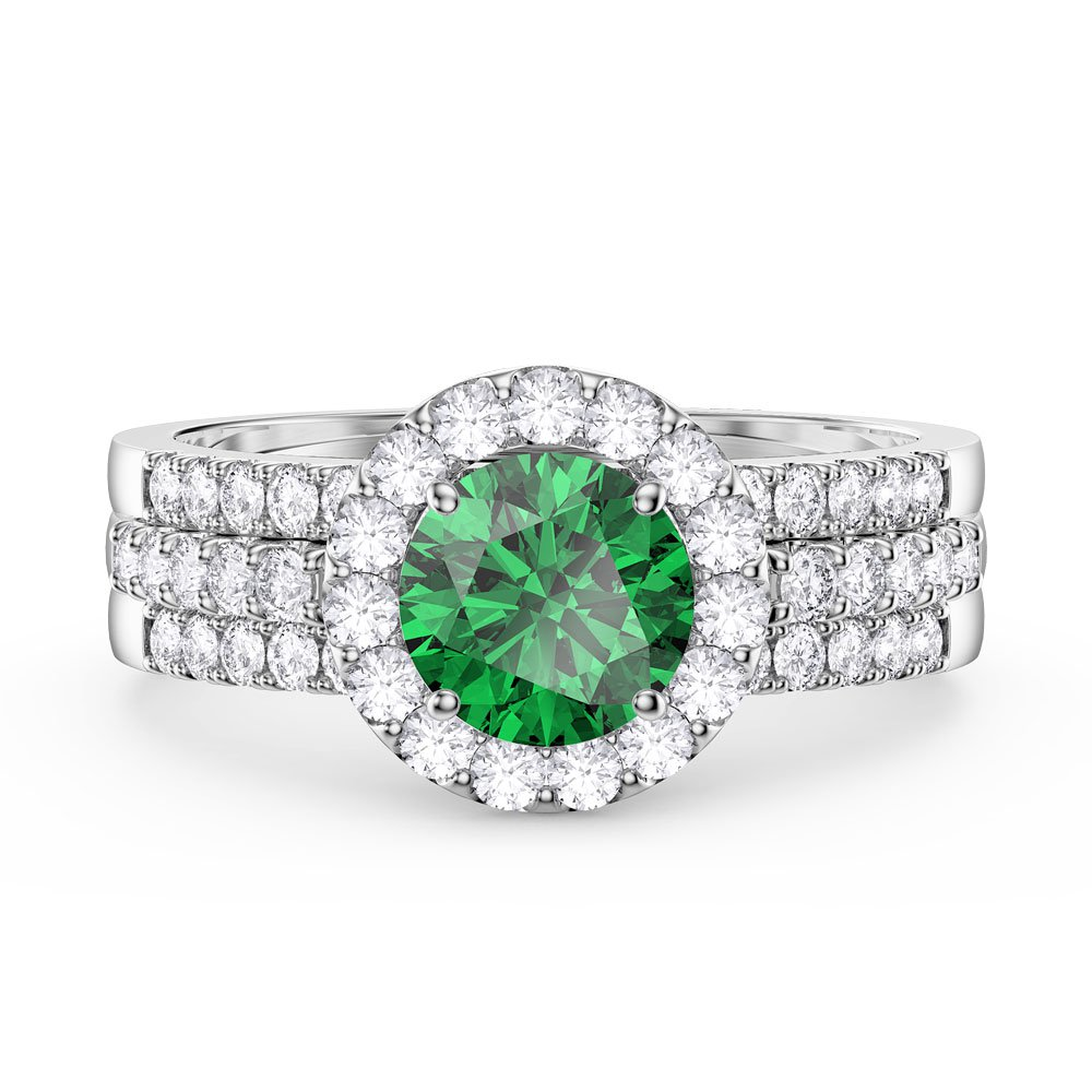 Eternity Emerald and White Sapphire Halo Silver Promise Ring Set (ROUND 2D WHITE GOLD)