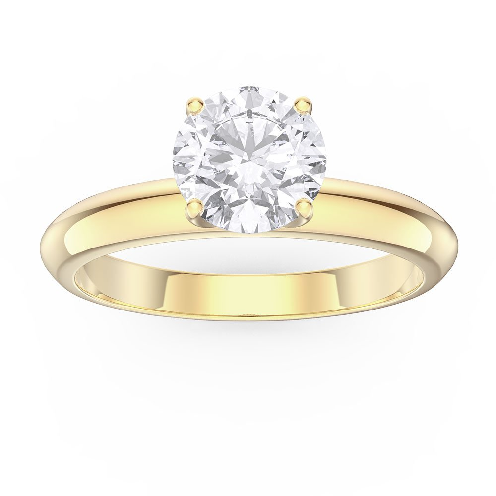 ring solitaire diamond brilliant gold amoro yellow rings engagement round carat
