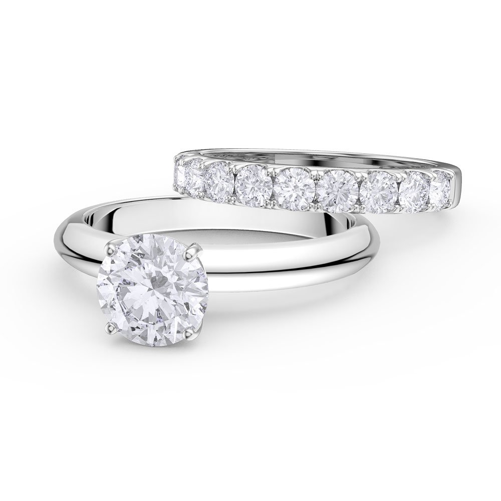 Eternity Ring Wedding Set: Unity 2ct White Sapphire 18ct White Gold Half Eternity