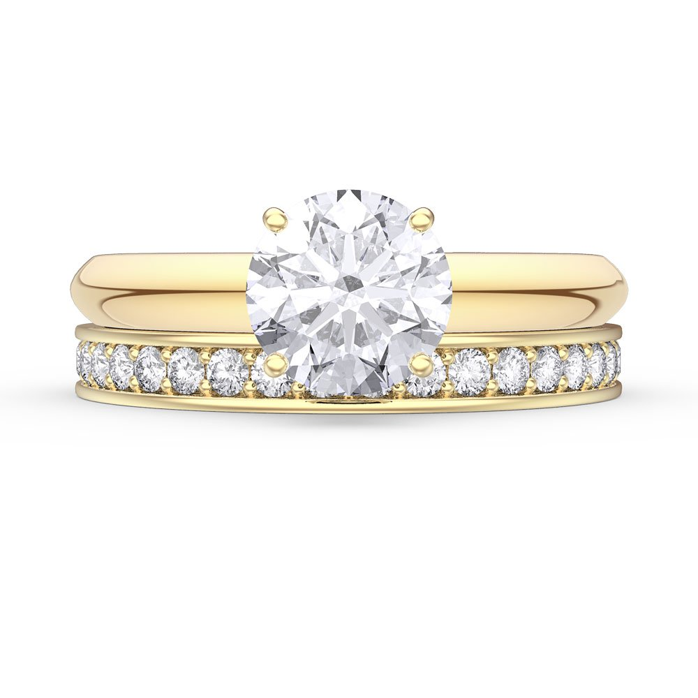 Unity 1.5ct White Sapphire 18ct Gold Vermeil Promise Engagement Wedding Ring Set (F YELLOW GOLD)