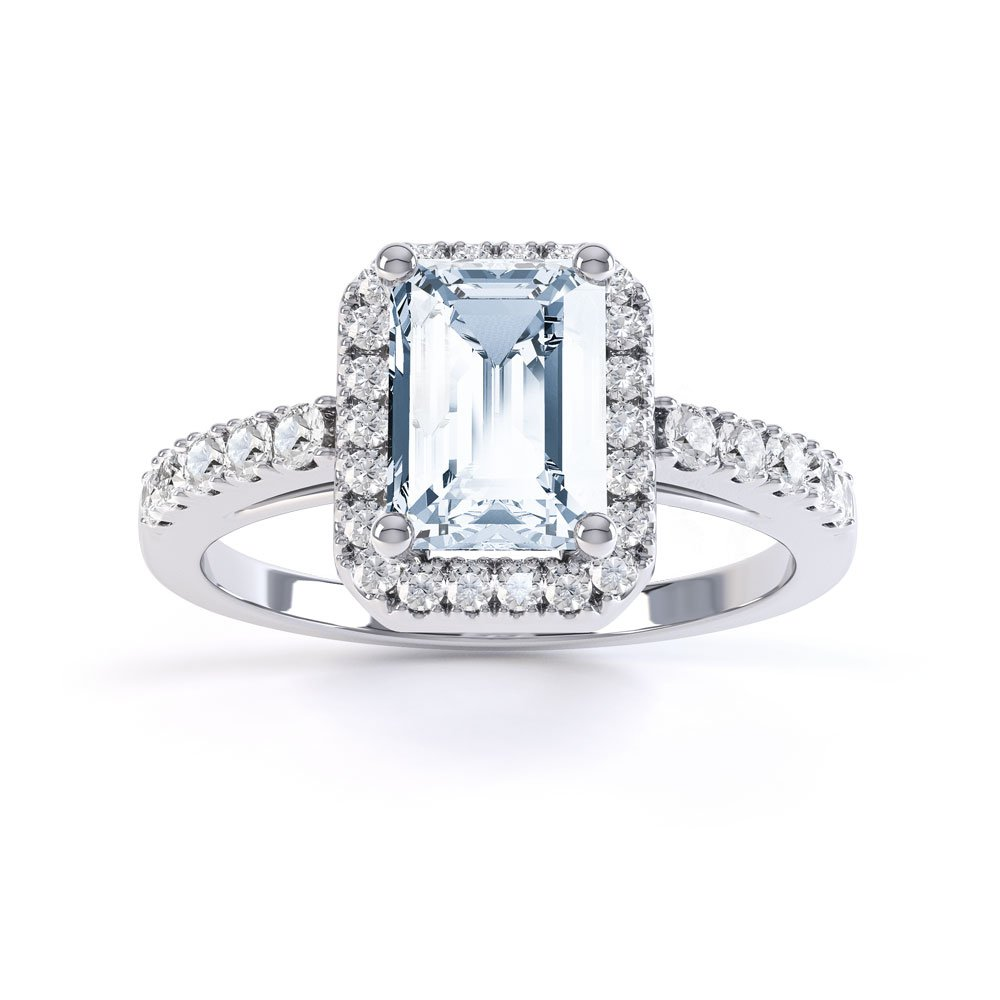 e97ae9121c21bd Princess Aquamarine and Diamond 18ct White Gold Emerald Cut Halo Engagement  Ring. Tap to expand