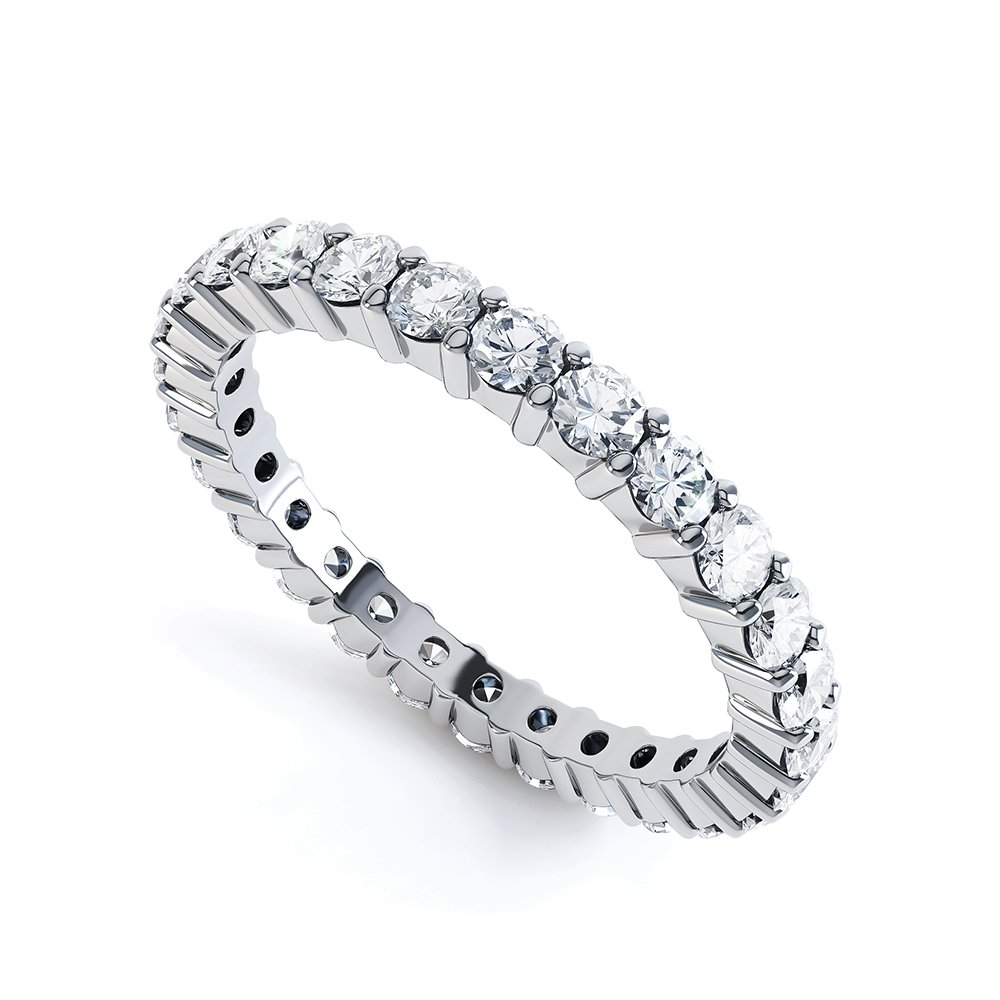 Promise White Sapphire Platinum plated Silver Full Eternity Ring