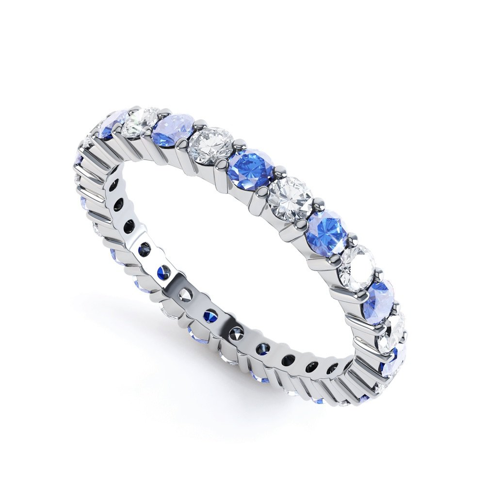 Promise Sapphire and Diamond Platinum Full Eternity Ring 2.5mm Band