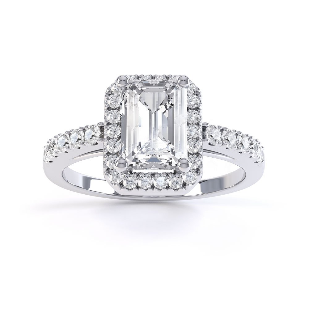 princess diamond emerald cut halo platinum engagement ring